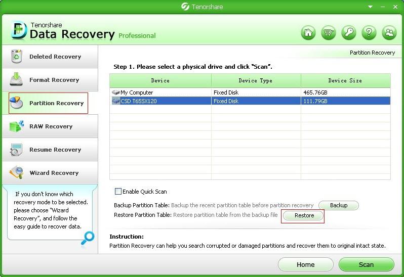 restore partition table